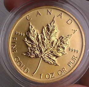 1 toy ounce gouden maple leaf